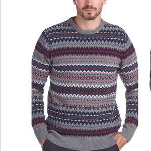 Barbour Case Fair Isle Wool Crewneck Sweater Sz M